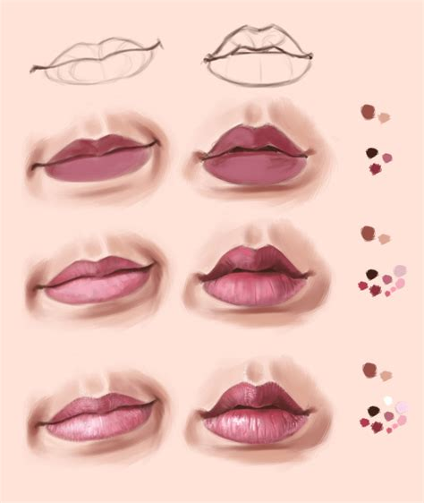 watercolor lips tutorial lips practice in krita and steps by thubakabra on deviantart
