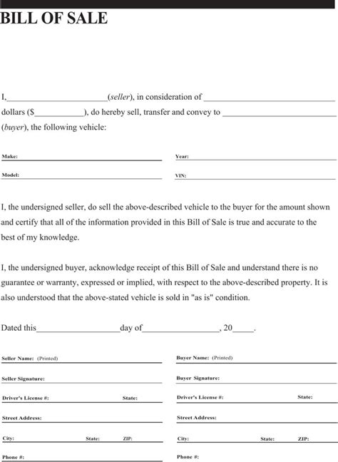 general vehicle bill of sale form for free tidyform