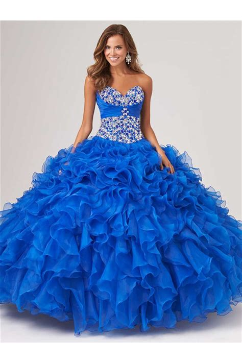 blue beaded gown gown royal blue organza ruffle beaded corset