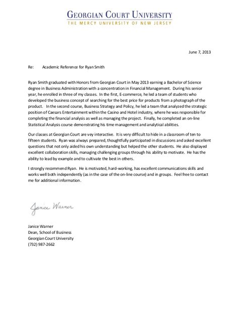 Tech Honors College Letter Of Recommendation Gcu Recommendation Letter