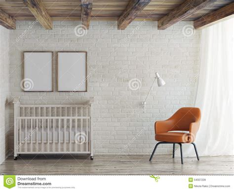 baby room mock  poster  brick wall  illustration