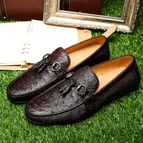 ostrich skin loafers new arrival high quality ostrich skin shoes fashion high