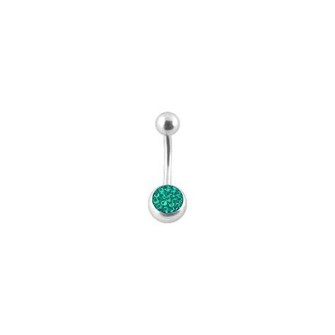 navel belly button ring w balls emerald swarovski