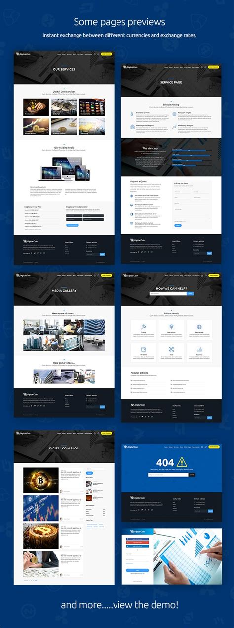Digital Coin Cryptocurrency Marketing And Trading Site Template Business Free Theme Download Cryptocurrency Html Template Free