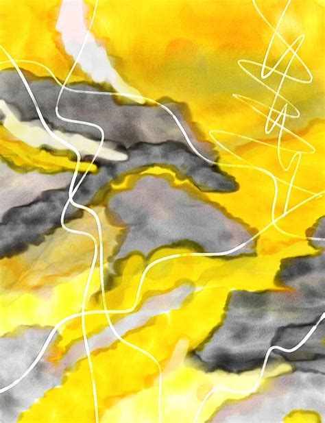 cheerful contrast yellow and gray watercolor painting by