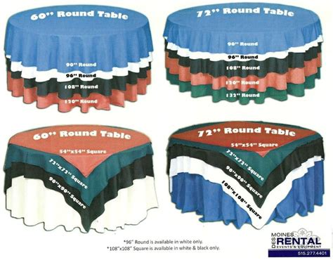 great reference table cloth size and overlay size chart