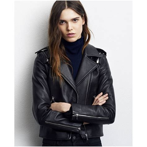 comptoir du cuir comptoir des cotonniers blouson biker femme cuir noir