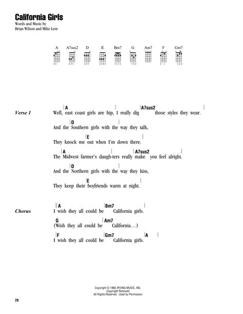 strumming pattern how you get the girl california girls sheet music by the beach boys ukulele