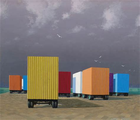 jeffrey smart, waiting containers, syracuse harbour, 1977