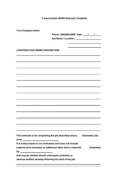 construction estimate template download free premium