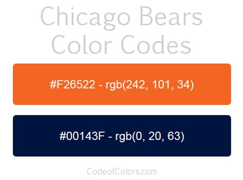 chicago bears colors hex and rgb color codes