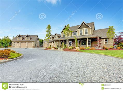 Garage Driveway Design large farm country house with gravel driveway and green