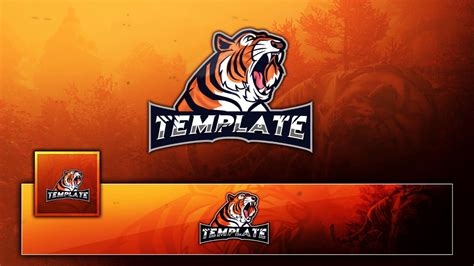Free Tigar Mascot Esport Clan Gaming Logo Banner Avatar Free Logo Template Youtube Esport Logo Template