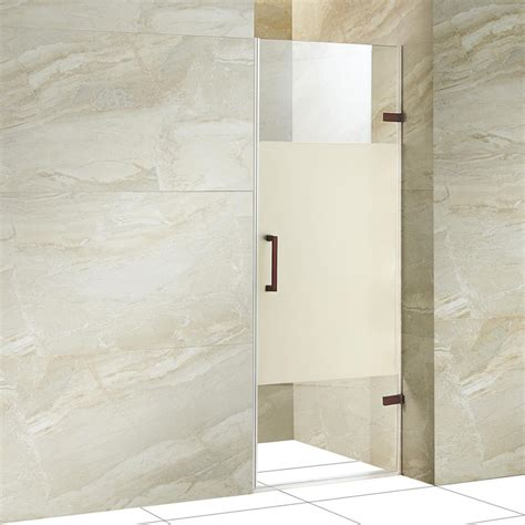 5 Shower Door Vigo Soho 28 5 In X 70 625 In Frameless Pivot Shower Door With Hardware In Rubbed Bronze