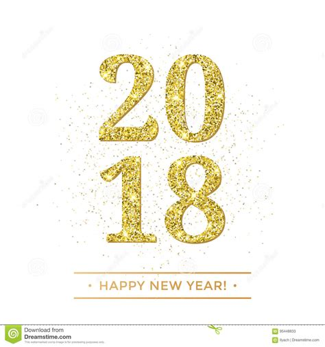 white new year gold 2018 happy new year vector on white background banner