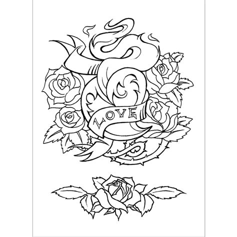 tattoo coloring books pin flower colouring pages on