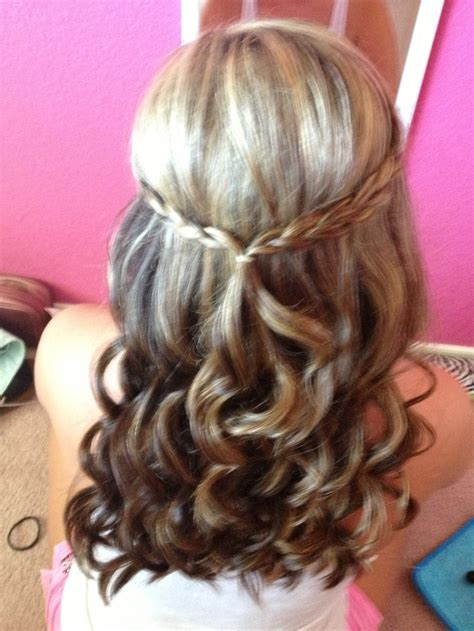 homecoming hairstyles half up half down curly half up half down hair curled with braid homecoming
