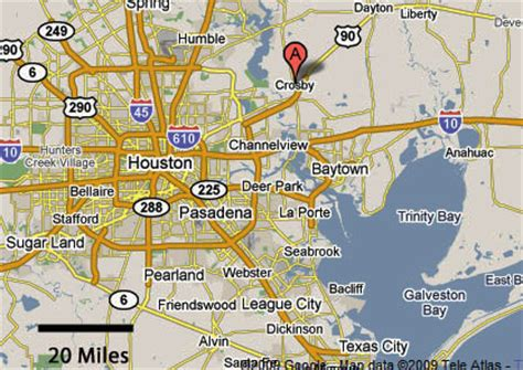map of crosby texas sighting reports 2009