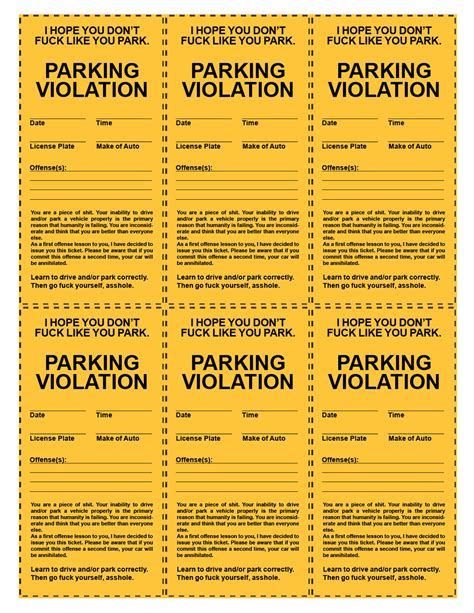 Printable Parking Tickets | funny printable parking tickets printout pinterest