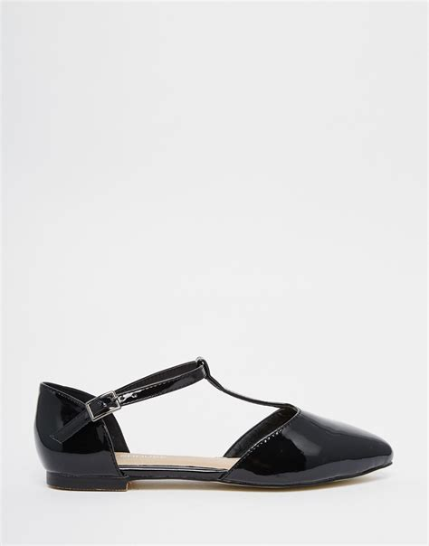 flat patent shoes warehouse patent t bar flat shoes in black lyst