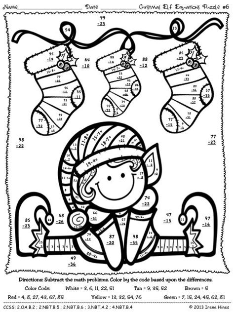 math skills coloring pages christmas math activities christmas elf equations