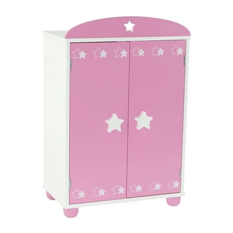 18 inch doll armoire 18 inch doll furniture pink armoire with star detail includes 4 clothes hangers