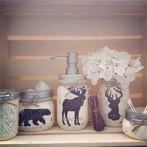 design house decor etsy hand painted mason jar bath set rustic by midnightowlcandleco