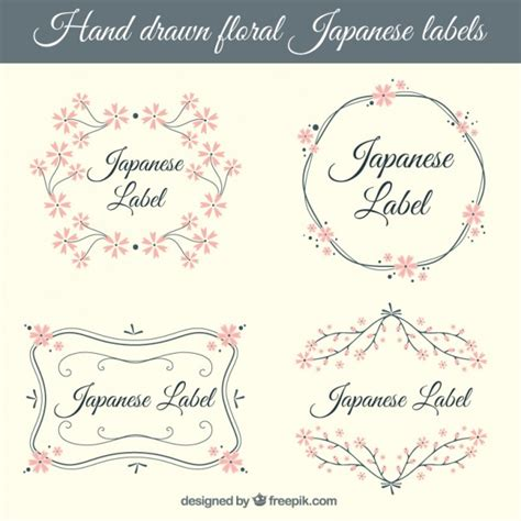 Etiketten Japan by Japanese Labels With Pink Flowers Vector Free