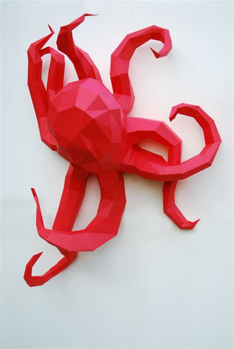 Octopus Papercraft - paper octopus octopus sculpture paper octopus kit by