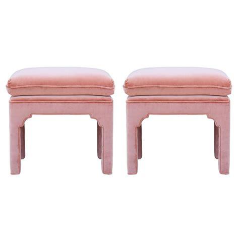 light pink ottoman pair of modern fully upholstered light pink velvet