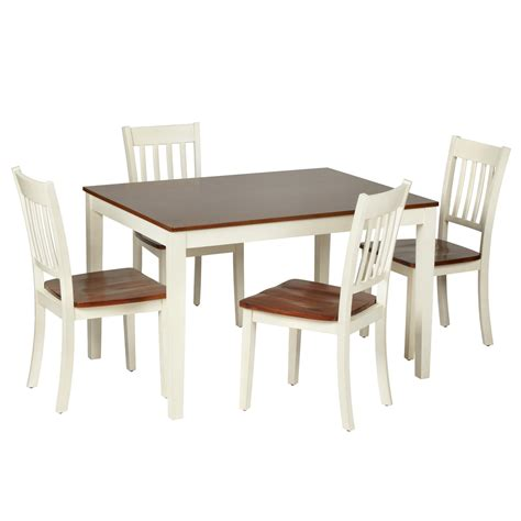 two tone wood dining table and chairs set 5 piece