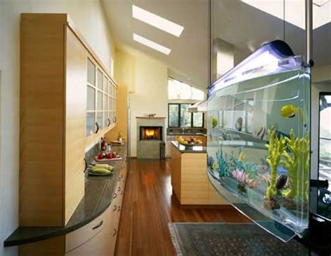 modern aquarium kitchen with a strong visual impact by modern aquarium spacearium freshome com