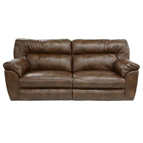 catnapper nolan leather reclining sofa in chestnut