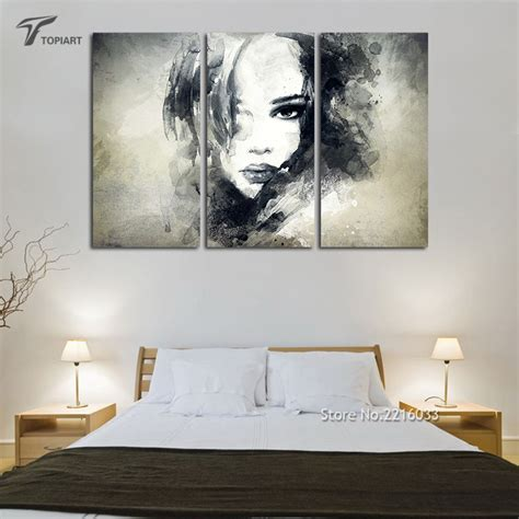 bedroom canvas art wall decor canvas painting watercolor black and white art
