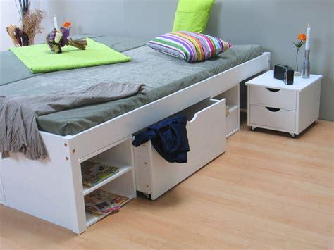 1 persoonsbed met opbergruimte tweepersoonsbed met bergruimte till wit 140x200
