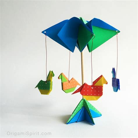 Easy Origami Toys - make an origami carousel