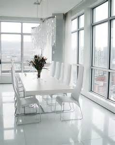 White wooden base chrome dining table modern white leather seat dining