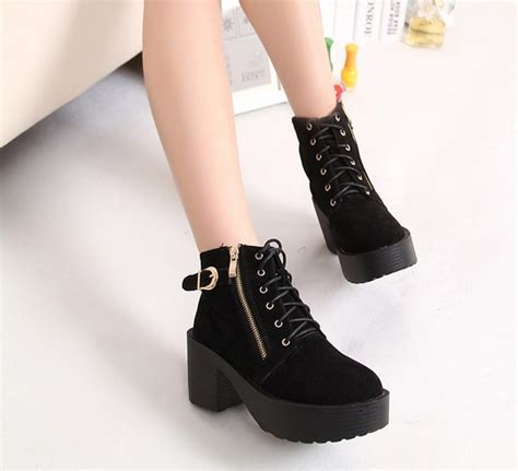 korean style lace up zipper metal decoration chunky