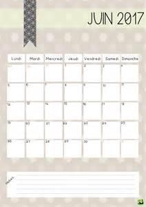 Calendrier Mensuel Calendrier Juin 2017