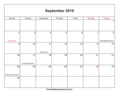 Calendar 2019 Printable With Holidays September 2019 Calendar Printable With Holidays Pdf And Jpg