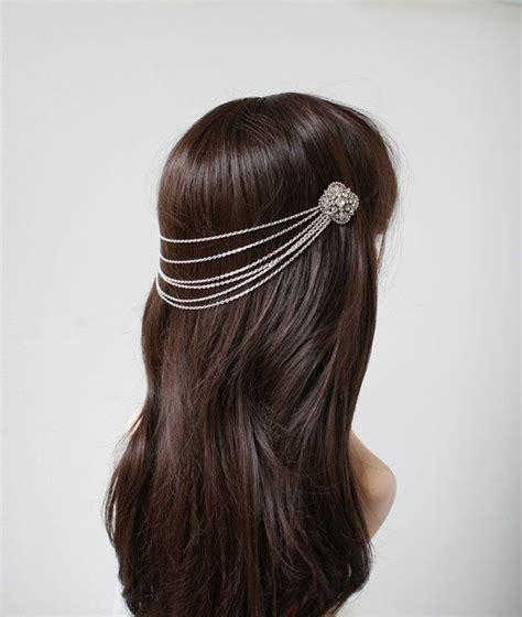 Wedding Headpiece Silver Tone Headchain With Drapes