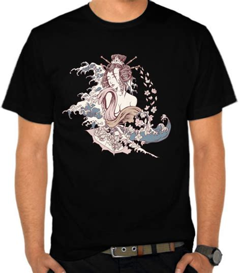 Kaos Distro Geisha jual kaos japanese geisha and great wave casual etnik