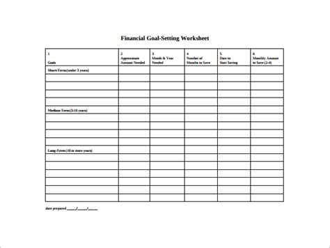 goal setting template    documents   word