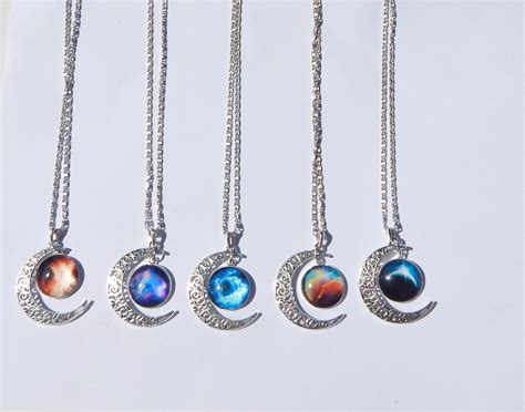 jewelry for galaxy moon necklace galaxy necklace crescent moon necklace