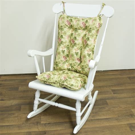 Shabby Chic Green Flower Patterned Padded Rocking Chair Shabby Chic Outdoor Cushions