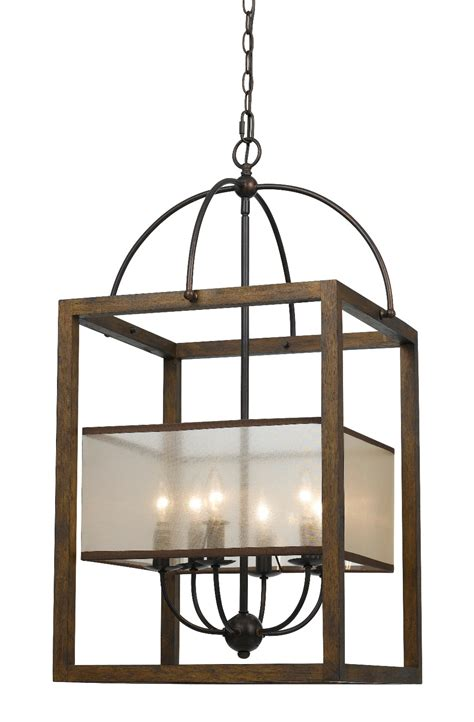 Dining Room Light Fixture Iron Amp Wood Sheer Shade Chandelier 19 Quot Fx 3536 6l