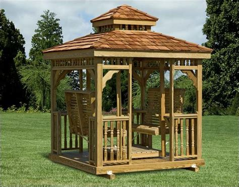 gazebo swing set wood hip roof gazebo swing