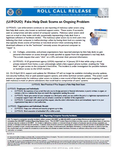 Fbi Help Desk by U Fouo Dhs Fbi Nctc Bulletin Help Desk Scams An