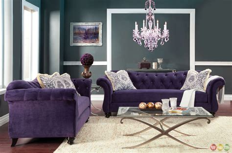 purple living room set antoinette crystal button tufted transitional purple sofa set