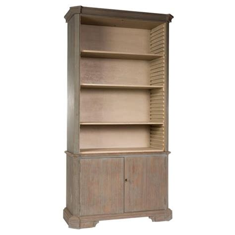 fresca country rustic grey wooden bookcase